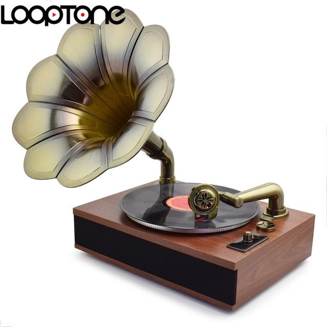 LoopTone Belt Drive 33 45 78 RPM Antique Gramophone Turntable Disc Vinyl Record Player Copper Flower Horn 3 Built In Speakers