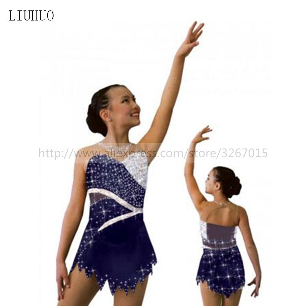 Patinage artistique Robe de Fille Personnalisé Glace De Patinage Robe Sans Manches Gymnastique Costume Brillant strass Foncé bleu blanc