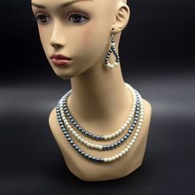 Fashionable and sweet necklace, gray and white alternate three layers pearl necklace, chokers necklace(China)