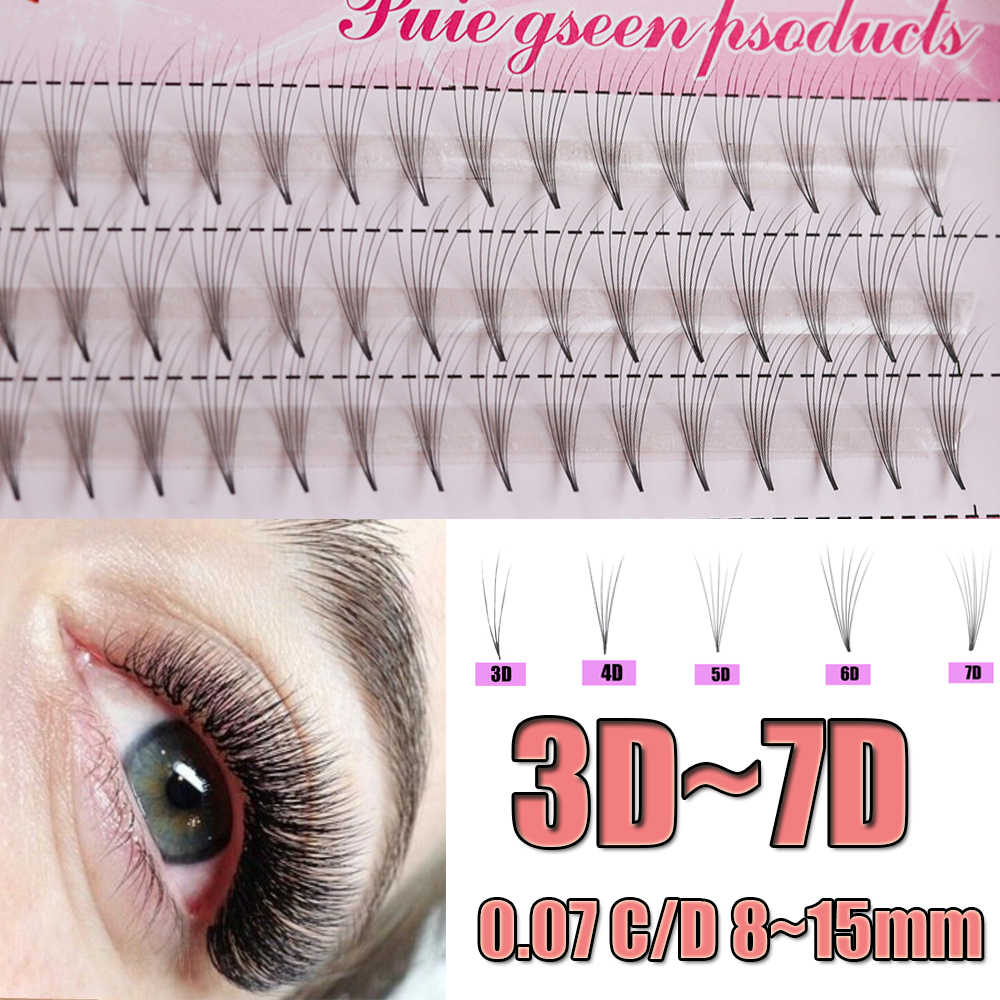 3D/4D/5D/6D/7D 0.07 Thickness C/D Curl Black Mink Individual Cluster Eye Lashes Professional Grafting Fake False Eyelashes