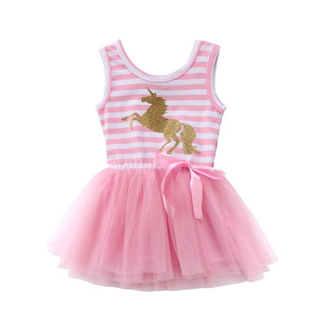 8034dd21f46 2018 jolie petite fille bébé licorne robe d été sans manches rayé rose  maille Tulle