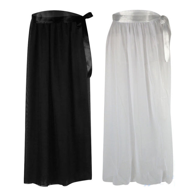 c0faad6d91 UK Women Bikini Cover Up Swimwear Beach Maxi Wrap Skirt Chiffon Lace-up Hgh  Waist