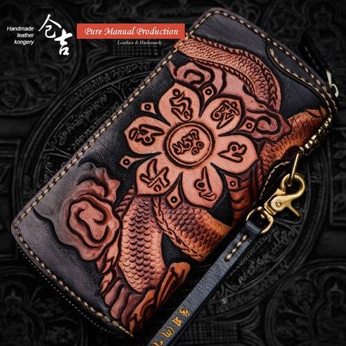 Hommes Sculpture Porte De Main Zipper En monnaie Dragon Cuir Chinese Capacité Portefeuille Pochette Grande Tissu carte Multi Longue Monnaie Sac 1qwP1I4d