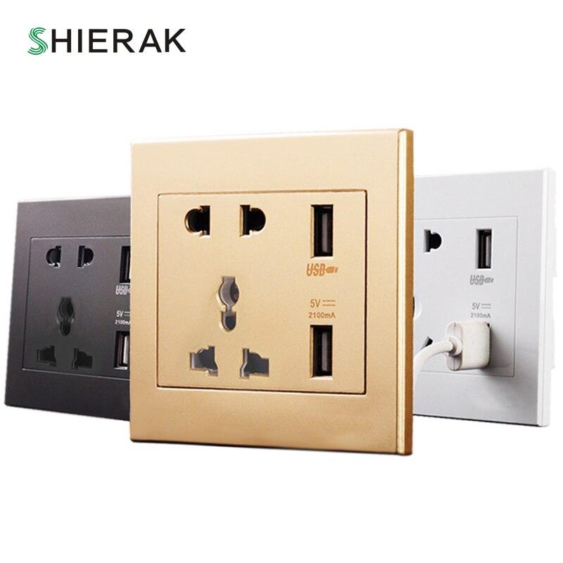 SHIERAK Universel Standard 2.1A USB Prise Murale Accueil Mur Chargeur 2 Ports USB Sortie Puissance Chargeur Pour Téléphone Blanc/ noir/Or