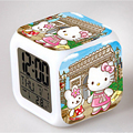 Hot Selling Cube Clock Hello Kitty Digital Clock 7 Colors Glowing Led Alarm Clock Desk Nightlight for Children Bedroom Gadget