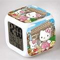 Venda quente cube relógio hello kitty relógio digital 7 cores glowing led alarm clock desk gadget luz noturna para quarto de criança
