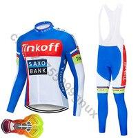 Saxo bank Tinkoff pro team long sleeve cycling jersey Ropa cycling bicycle bike racing clothing MTB sets 16D GEL