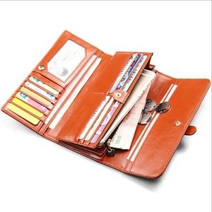 Image 5 - Genuine Leather Women Wallet Luxury Clutch Coin Purse Holders Money Bags Designer Female Wallets Famous Brand Wallet portfolio