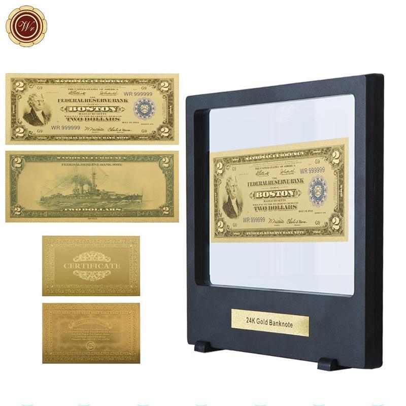 WR доллар США Note креативный 2 доллара США 24 к 999,9 позолоченный мир бумажные деньги сувенирные подарки с красивой черной выставочной стойкой д...