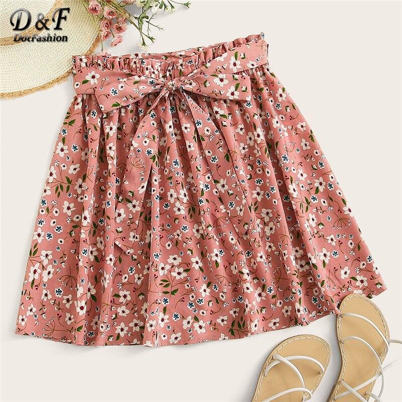 Dotfashion Pink Ditsy Floral Print Paperbag Waist Skirt Women 2019 Summer Boho Skater Skirts Spring Ladies Fashion Mini Skirt