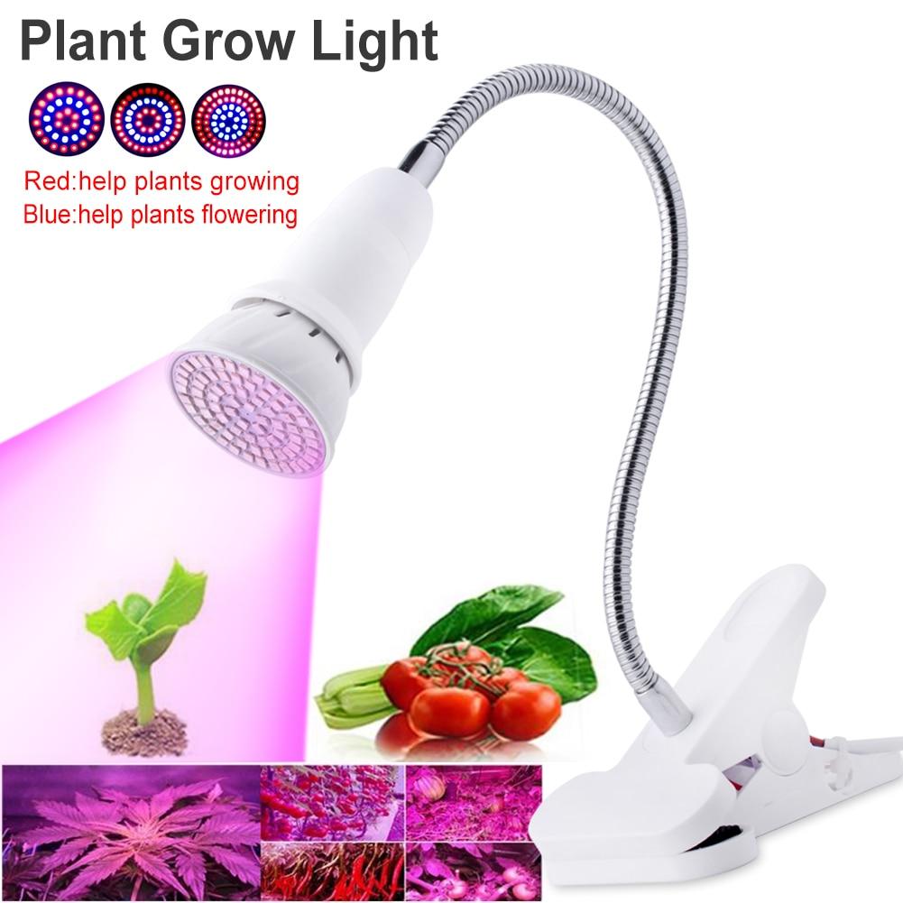 TSLEEN 4W 6W 8W Led Plant Grow Lamp E27 LED Horticulture Led Grow Light For Garden Flowering Hydroponics System+Desk Holder Clip
