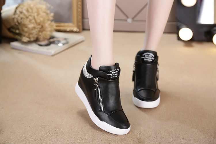 9a87065391fd ... Akexiya Hot Sale New Wedge Sneakers Hidden Heels Women s Elevator Running  Shoes With Zipper Black White ...