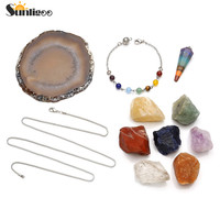 Sunligoo 7 Chakra Healing Crystals Natural Rough Raw Stones Hexagonal Point Pendulum W/Agate Slice Pundulum Stand Meditation Set