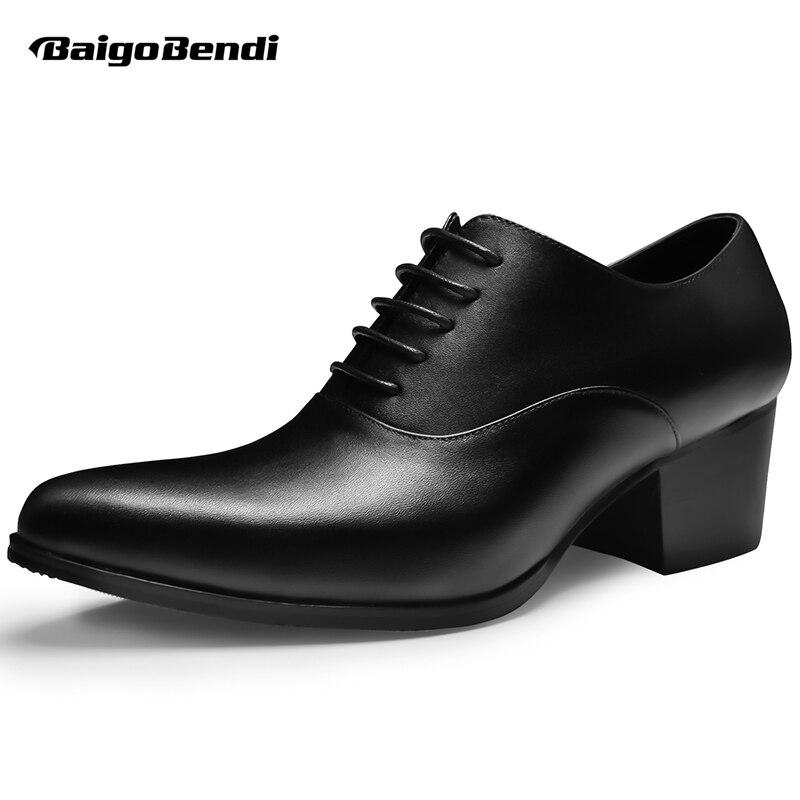 Bout Black white À Homme De Pointu Casual Mariage Lacent Talons Chaussures Véritable Oxfords En Mens Hauteur Intensifient Cuir Hauts Croissante wz004U