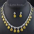 5 opción de los colores de lujo Cubic Zirconia party/boda joyería nupcial conjunto para las mujeres/de la muchacha, de moda de alta calidad sistema del pendiente del collar