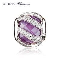 ATHENAIE 925 пробы серебро ПРИРОДЫ сияние фиолетовый Шарм Бусины Fit оригинальный браслет Пандора Аутентичные ювелирные изделия