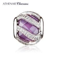 ATHENAIE 925 Sterling Silver Nature's Radiance Purple Charm Beads Fit Original  European Bracelet Bangle Authentic DIY Jewelry