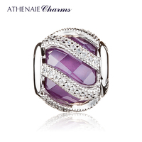 ATHENAIE 925 Sterling Silver Clear CZ Intertwining Radiance Purple Charms Beads For Jewelry Making Fit Pandora