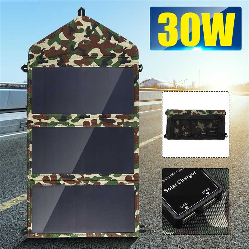 New Folding 50W Solar Panels 5V Waterproof Sun Power Solar Cells Charger Double USB Output Devices Portable For Smartphones