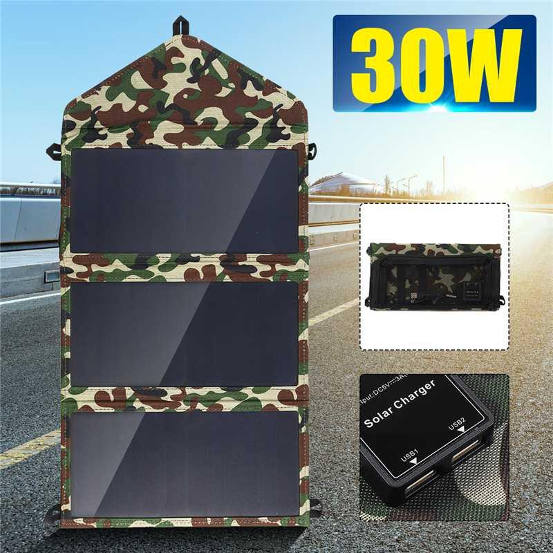 Nouveau pliage 30 W panneaux solaires 5 V étanche soleil puissance solaire cellules chargeur Double USB sortie dispositifs portables pour Smartphones