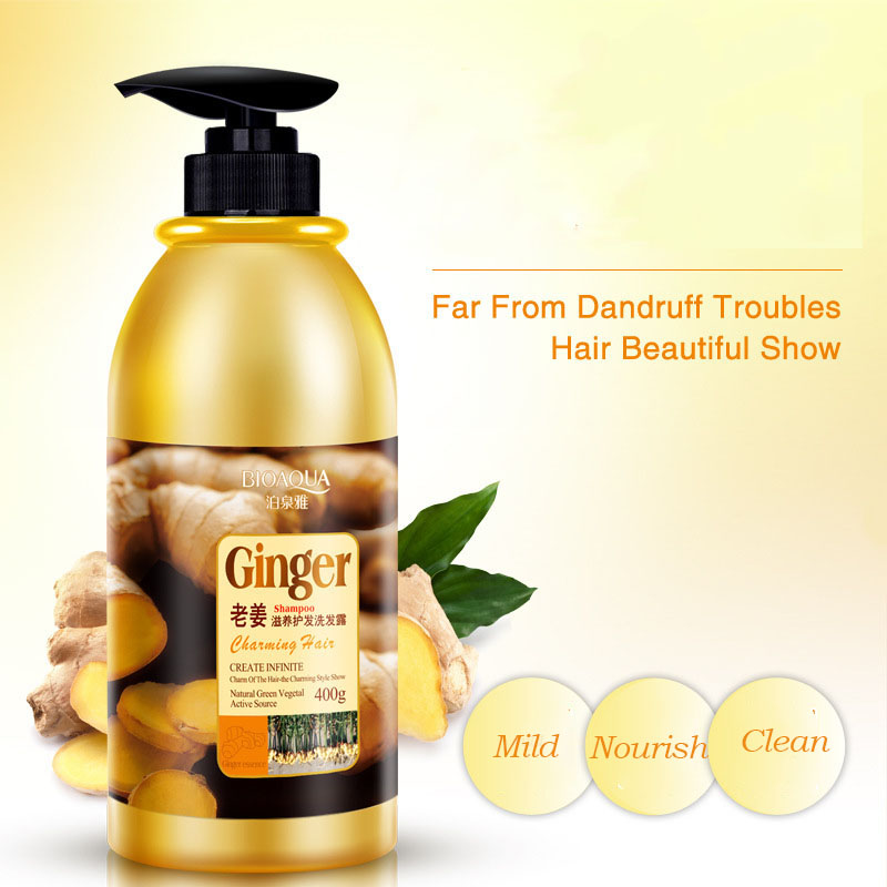 BIOAQUA 400ML Natural Ginger Shampoo Without Silicone Oil Deep Cleaning Dandruff Nourishing Oil-Control Itching Health Hair Care