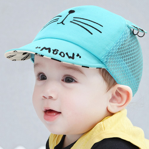 Cartoon Baby Boys Caps Cotton Soft Hats with Ears Mouse Print Summer Caps Boys Girls Sun Hats Baby Girls Caps