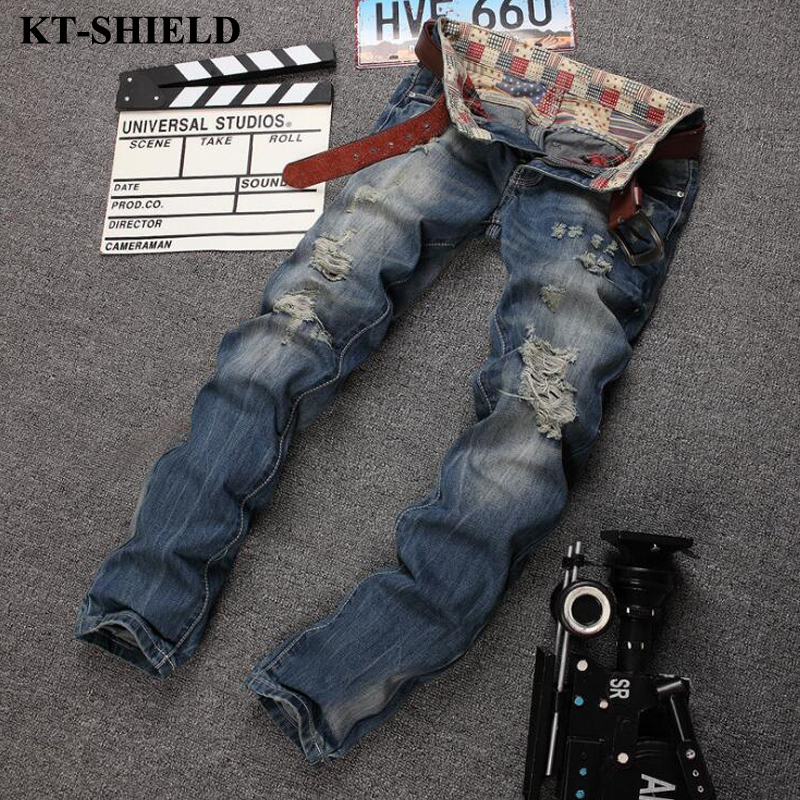 Fashion Men Jeans New Arrival Slim fit Ripped Jeans for Man Denim Trousers Cotton High Quality