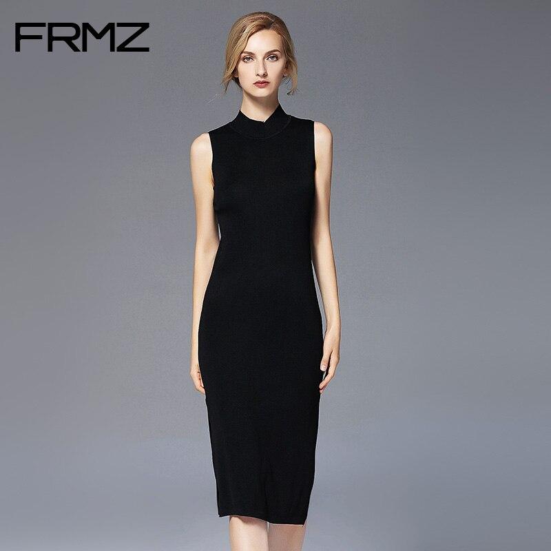New Fashion Autumn Women Dresses Slim Sleeveless Dress Ladies Turtleneck Knitted Solid Vestidos Female 2017 Knee