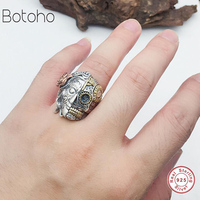 Buddha ring 100% real 925 sterling silver Skull ring double faced devil Skull retro love ring unlimited ladies men's jewelry