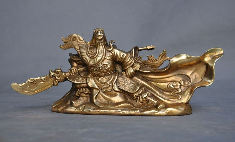 statue Crafts statue Chinese Brass Copper Dragon Ancient warrior Generals guan gong guan yu Statue halloween