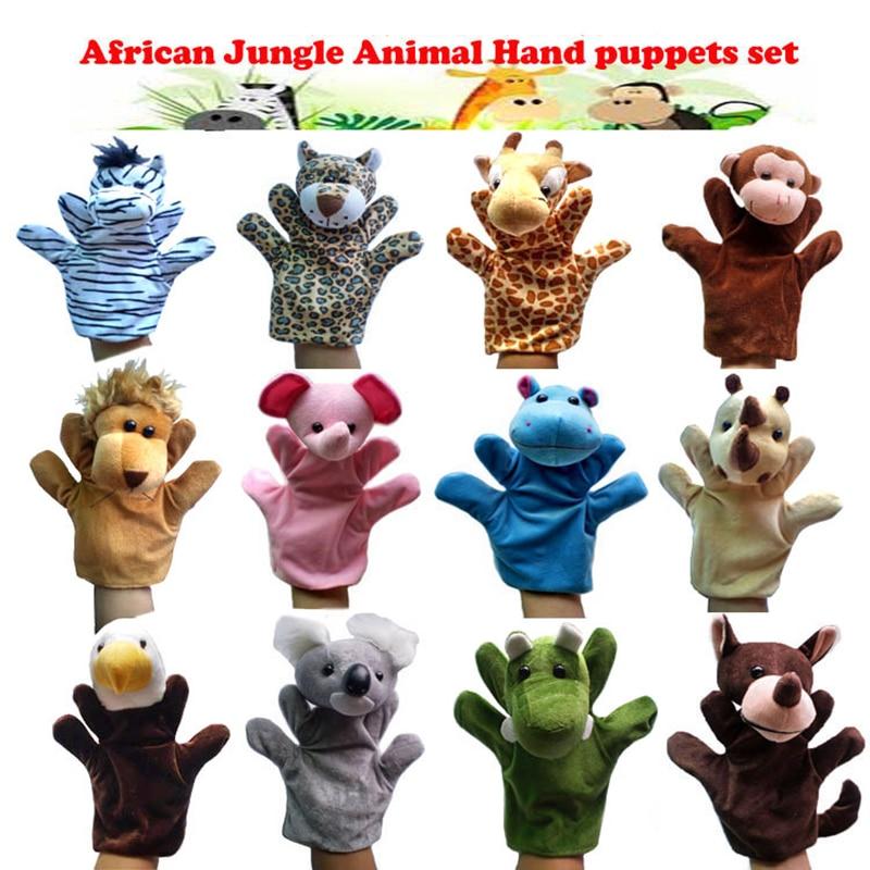 12Pcs ג 'ונגל אפריקאי קריקטורה בעלי חיים - צעצועים ממולאים