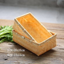 High Quality Bamboo Basket Handmade Vintage Weave Baskets Receive Vegetables Food for Multi Function Photography Studio Props