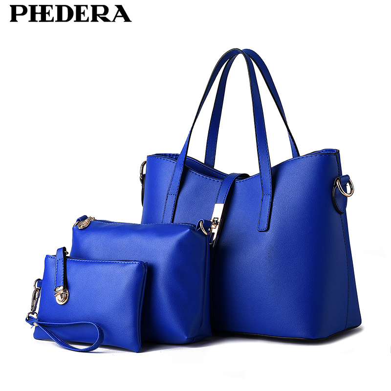 3 PCS/Set New Fashion OL Business Composite Bag Europe and America Women Handbags PU Leather Ladies Bags Women Shoulder Bags 2016 new styles of leather and fashion in europe and america