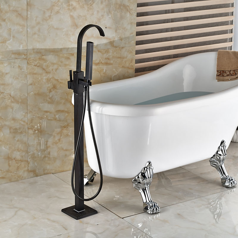 Oil Rubbed Bronze Waterfall Tub Mixer Faucet Free Standing Floor ...
