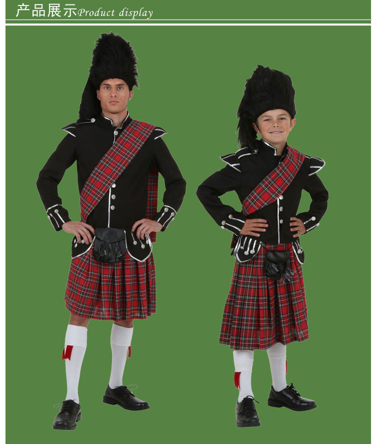 new irek new cosplay party costume children adult halloween costume stage performance wear irish scottish garment high quality in holidays costumes from
