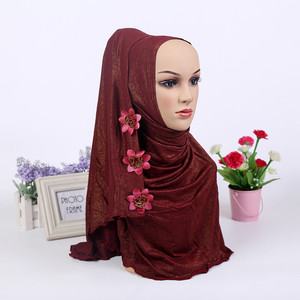 Image 4 - Fashion One Piece Muslim Shimmer Flower HIJAB One Round Instant HAT (new colors stock now.notice flower pattern random)