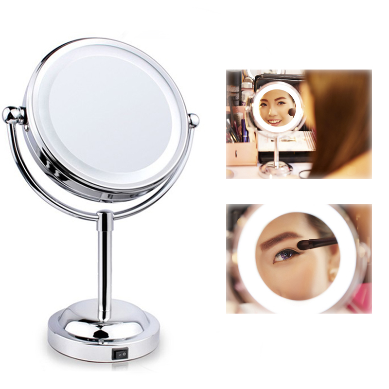 6 Inch Led Compact Metall Kosmetik Spiegel 360 Grad Rotation 3x Doppelseitige Vergrößerungs Bad Spiegel Kosmetik Spiegel Werkzeuge Weitere Rabatte üBerraschungen Schminkspiegel Spiegel