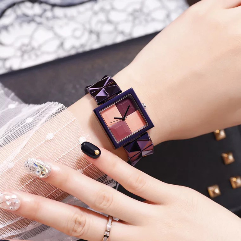Cacaxi New Square Dial Design Women Watches Luxury Fashion Dress Quartz Watch Ulzzang Popular Ladies Rouge Alloy Wristwatch