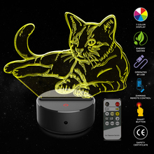 Cat 3D Night Light Animal Changeable Mood Lamp LED 7 Colors USB Illusion Table For Home Decorative As Kids Toy Gift