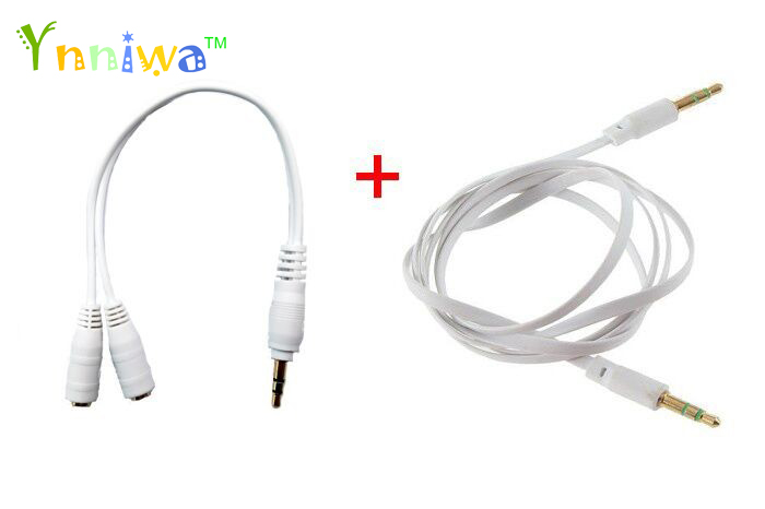 1pcs 3.5mm 1 in 2 couples audio line Earphone Splitte +1pcs Male to Male Stereo Audio Jack AUX Cabler For Tablet Phone MP3 MP4