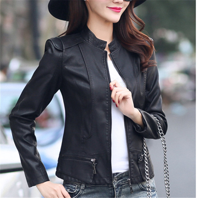 53ee0ded033 Plus Size PU Motorcycle Ladies Jacket Winter Fashion Street Causal Bomber  Jackets Women Basic Slim Coats M-3XL Black Red