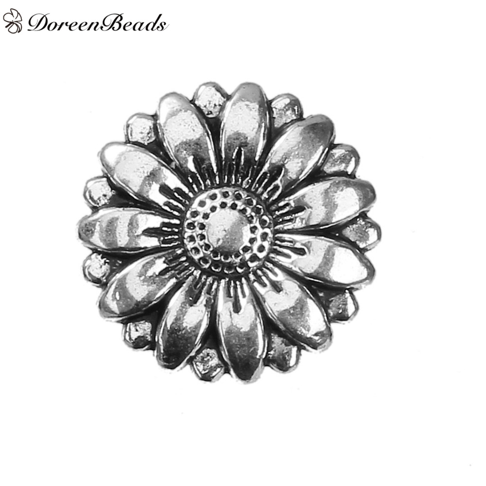 Sun Flower Silver Real Metal Shank Buttons 18mm Pack Of 6