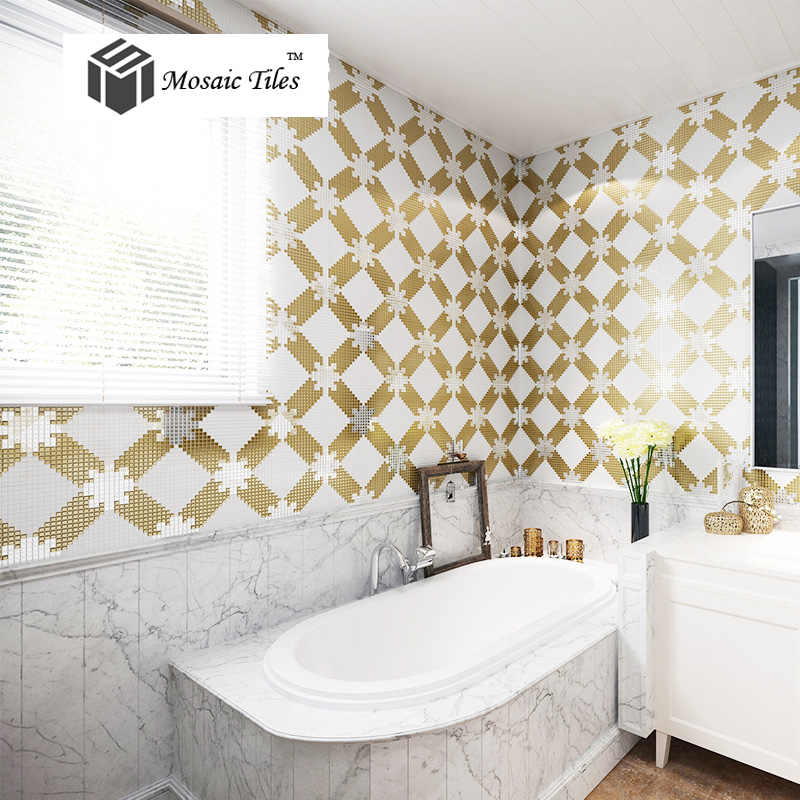Bisazza Glass Mirror Mosaic Wallpaper Art Pattern Tile Bathroom Wall Backsplash Tile Kitchen Mosaic Art Deco Gold Silver Tile Silver Tile Backsplash Tilepattern Tile Aliexpress