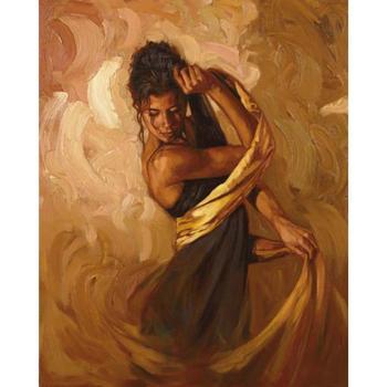 Canvas painting of beautiful woman Handmade oil modern figurative Golden Seduction art for bedroom decor