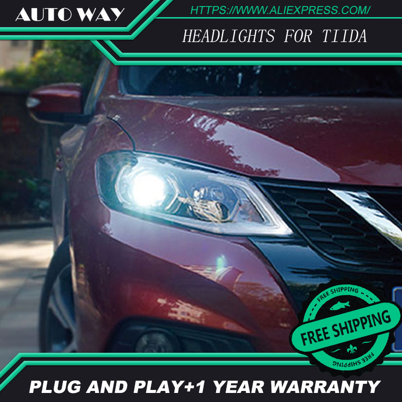 Car Styling Head Lamp case for Nissan TIIDA Headlights TIIDA 2016 2017 LED Headlight DRL Lens Double Beam Bi-Xenon HID hireno headlamp for 2013 2015 nissan tiida headlight assembly led drl angel lens double beam hid xenon 2pcs