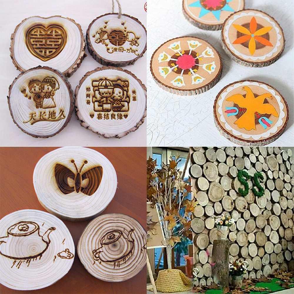 30 шт 4-5 см разных размеров цвета натурального дерева ломтики круглое бревно диски для искусства и ремесла дома подвесные украшения события Orname