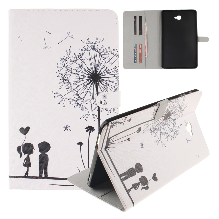 SM-T580 Protective Case Fashion Painting Flip Book PU Leather Case for Coque Samsung Galaxy Tab A10.1 T580 T585 Soft TPU Shell fashion painted flip pu leather for samsung galaxy tab a 10 1 sm t580 t585 t580n 10 1 inch tablet smart case cover pen film