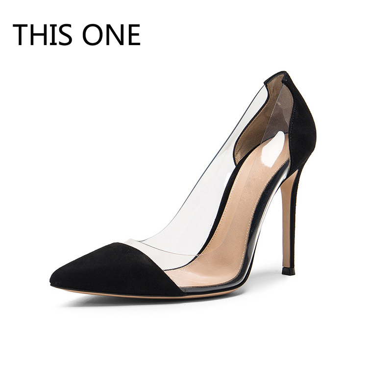 THIS ONE Hot sell Women Pumps 2018 Transparent 12cm High Heels Sexy Pointed Toe Slip-on Wedding Party Shoes For Lady Size 35-43 fedonas new women pumps 2018 mary jane high heels sexy pointed toe slip on wedding party shoes for lady buckles female pumps