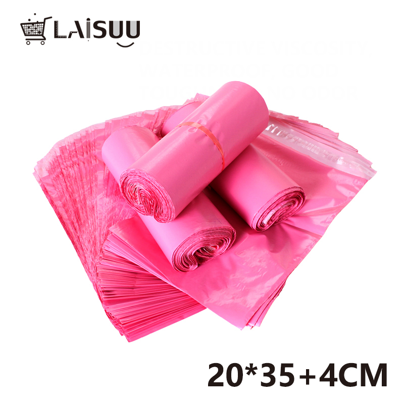 100pcs 7 8 13 7inch 20 35cm Girl Pink Thick Waterproof Self Adhesive Bag poly envelope gift mailing bag in Paper Envelopes from Office School Supplies