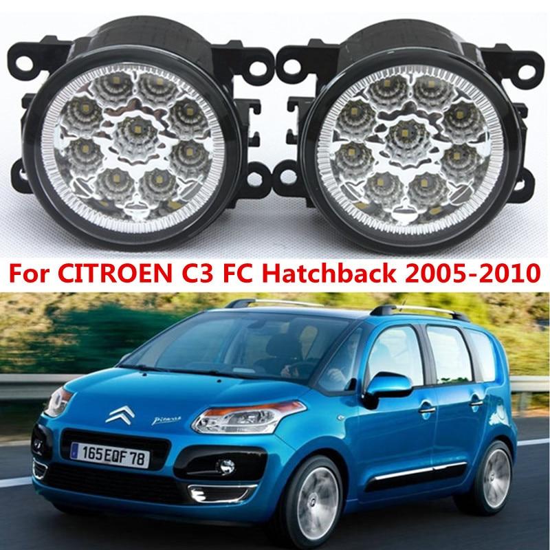 For CITROEN C3 FC Hatchback 2005-2010 Car styling front bumper LED fog Lights high brightness lamps 1set